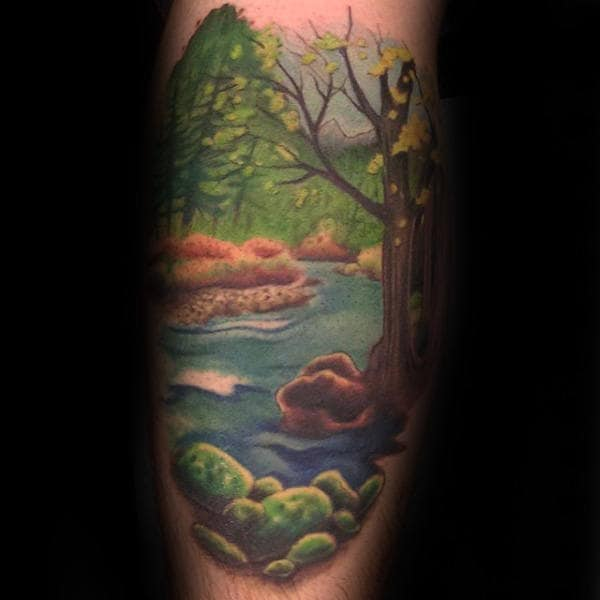 Guys Landscape Leg Tattoos