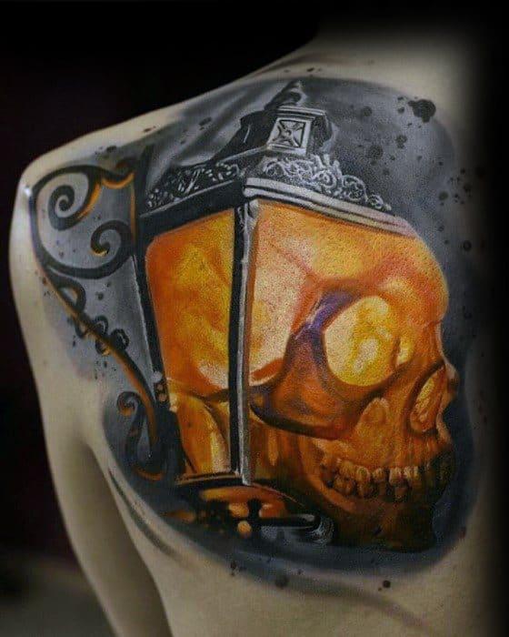 Guys Lantern Skull 3d Hyper Realistic Shoulder Blade Tattoo
