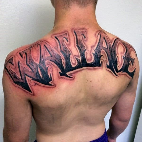 Guys Last Name Wallace Back Tattoos