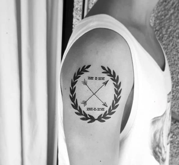 Guys Laurel Wreath With Arrows Arm Tattoo
