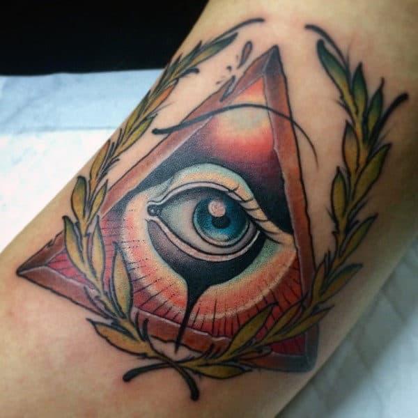 Guys Leafy Illuminati Tattoo Forearms