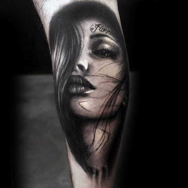 Guys Leg 3d Realistic Portrait Tattoo Deisgns