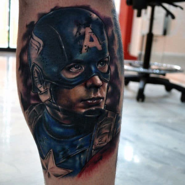 Guys Leg Calf Captain America Watercolor Tattoos