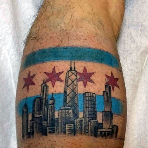 Guys Leg Calf City Skyline Chicago Flag Tattoo