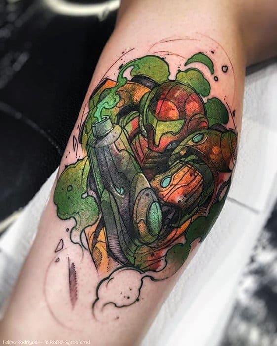 Guys Leg Calf Gamer Tattoo Deisgns