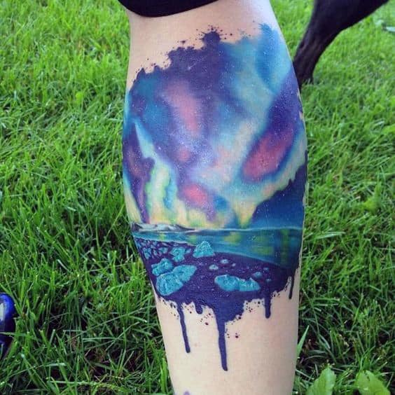 Guys Leg Calf Northern Lights Watercolor Tattoos