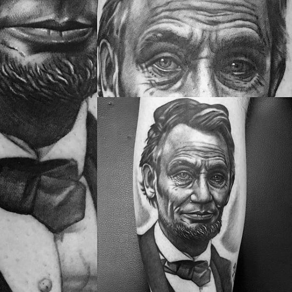 Guys Leg Calf Realistic Shaded Abraham Lincoln Tattoos