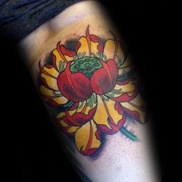 Guys Leg Calf Red And Yellow Lotus Flower Tattoo