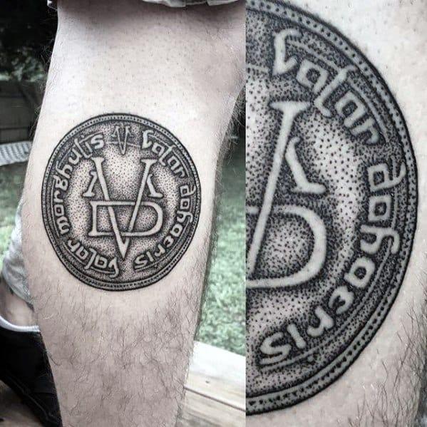 Guys Leg Calf Symbol Dotwork Game Of Thrones Tattoos