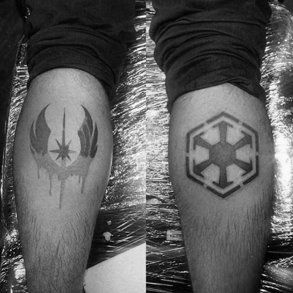 Guys Leg Calf Tattoo Ideas Sith Symbol Designs
