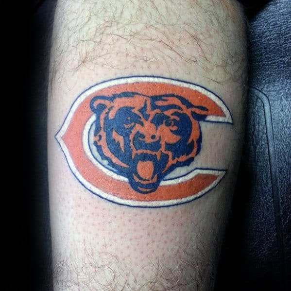 Guys Leg Chicago Bears Tattoo Design Ideas