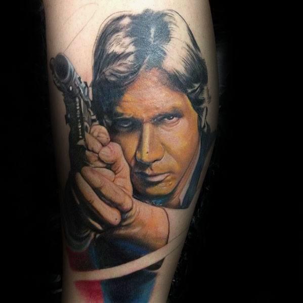 Guys Leg Han Solo Tattoo Design Ideas