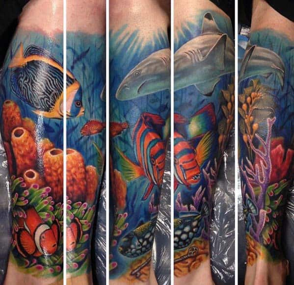 Guys Leg Ocean Themed Sleeve Tattoos