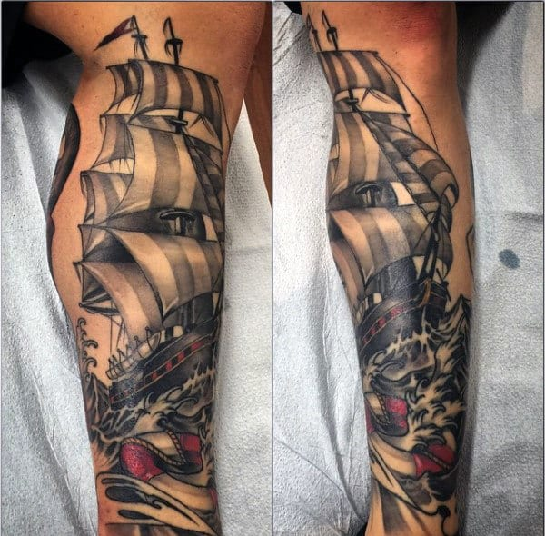 Guys Leg Sailor Sleeve Tattoo