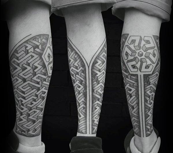 Guys Leg Sleeve Geometric Maze Tattoo Design Ideas