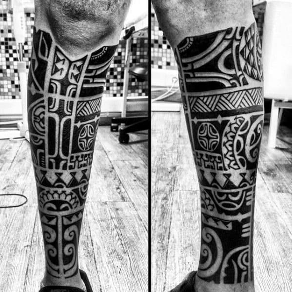 Guys Leg Sleeve Polynesian Tribal Tattoo