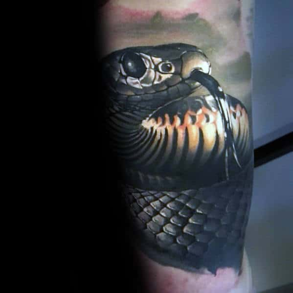 Guys Leg Sleeve Realistic Snake Tattoo With 3d Design