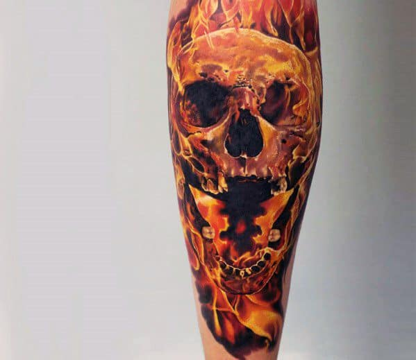 Guys Leg Sleeve Realistic Tattoos With Flaming Skull Design
