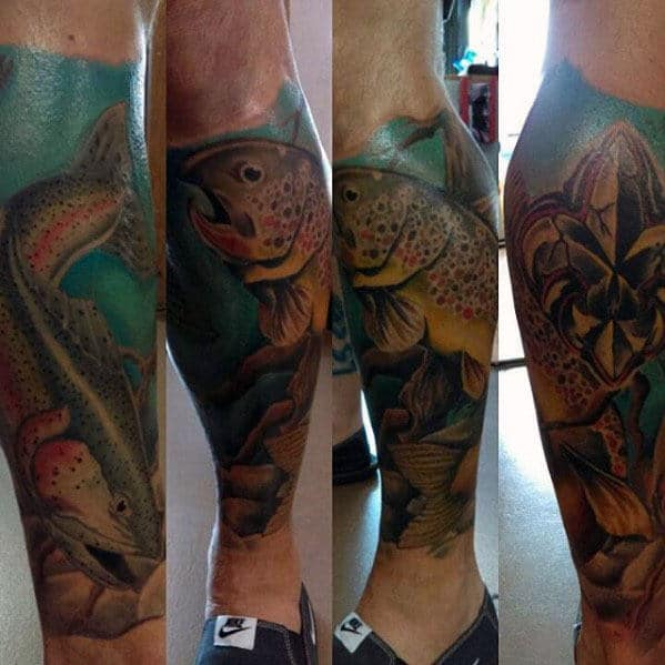 Guys Leg Sleeve Trout In Water Tattoo Design