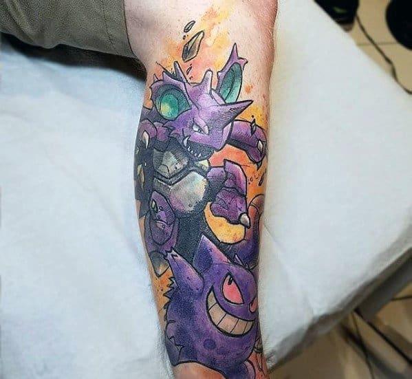 Guys Leg Tattoos With Gengar Design