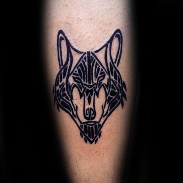 Guys Leg Tribal Wolf Black Ink Tattoo Ideas