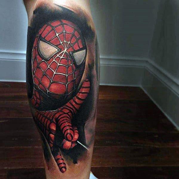 Guys Legs 3D Spiderman Tattoo