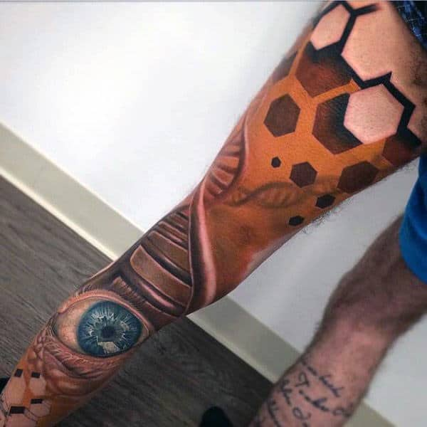 Guys Legs Abstract Eye Realism Tattoo