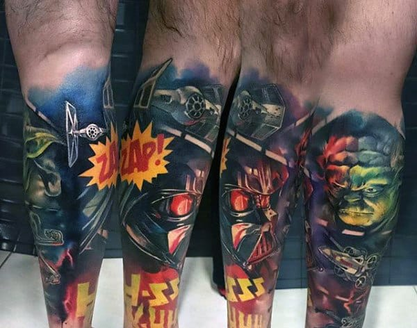 Guys Legs Colored Darth Vader Tattoo