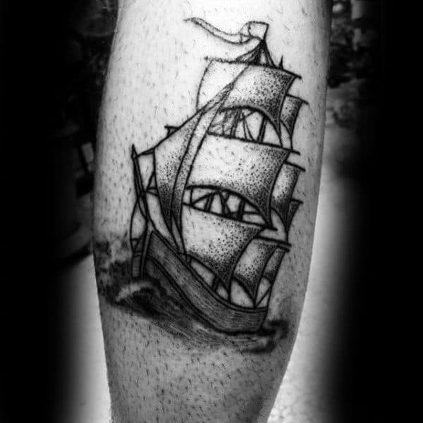 Guys Legs Dotwork Ship Tattoo
