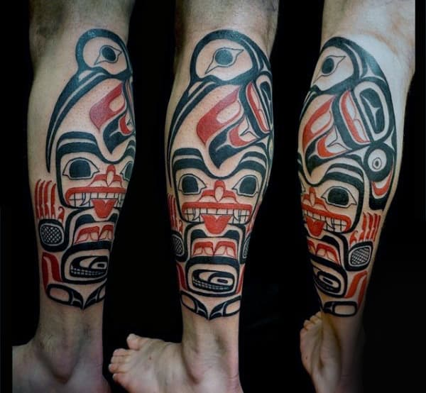Guys Legs Haida Goddess Tattoo