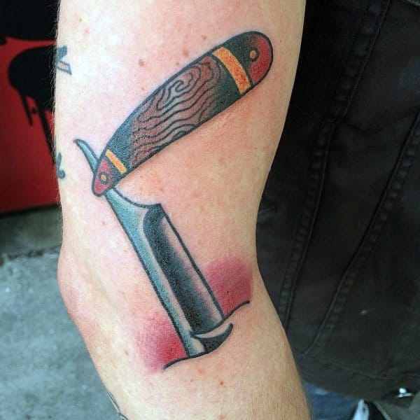 Guys Legs Straight Razor Tattoo