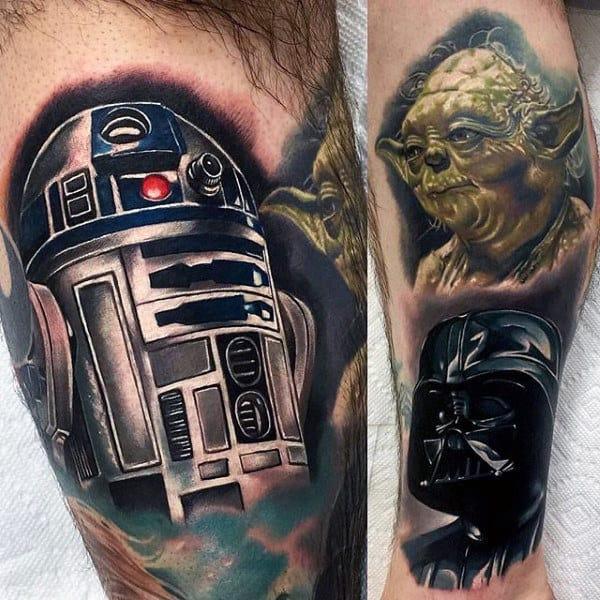 Guys Legs Yoda Darth Varder Tattoo