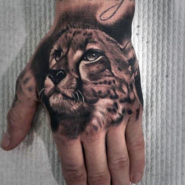 Guys Leopard Hand Tattoos