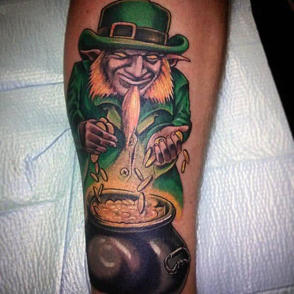 Guys Leprechaun Tattoo Designs