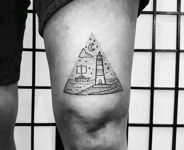 Guys Lighthouse Ocean Small Thigh Tattoo Designs