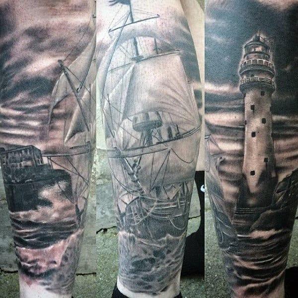 Guys Lighthouse With Beacon Light Tattoo