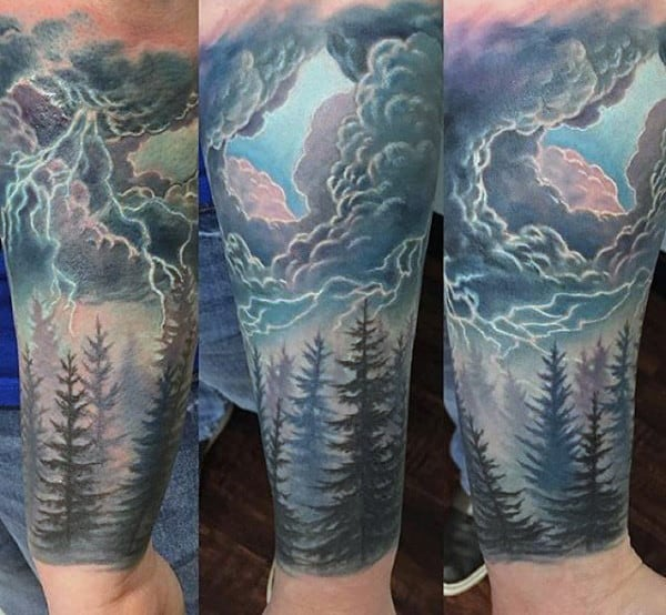 Guys Lightning Tattoo Inspiration For Forearm