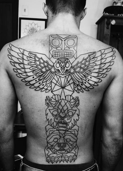 Guys Line Wrok Geometric Totem Pole And Owl Back Tattoo