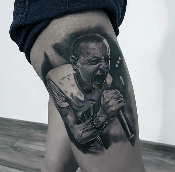 Guys Linkin Park Chester Realistic Portrait Thigh Tattoos