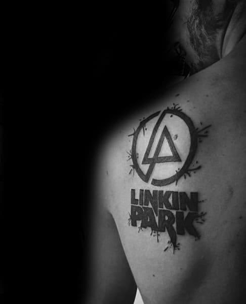 Guys Linkin Park Tattoo Design Ideas On Back Shoulder