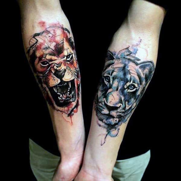 Guy's Lion Inner Forearm Tattoo