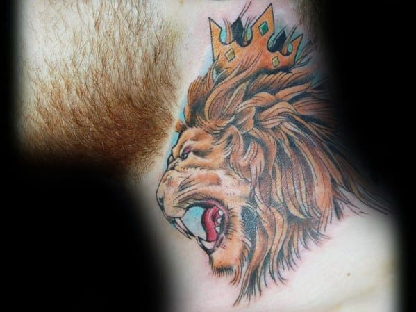 Guys Lion Neck Tattoo Design Ideas