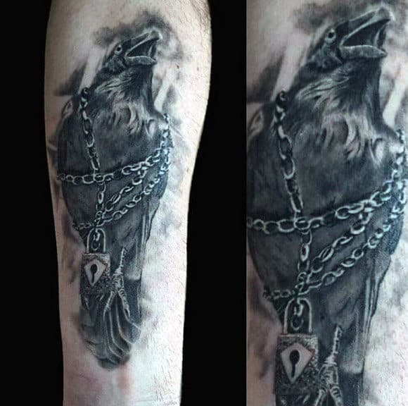 Guys Lock Around Black Crow Forearm Tattoos