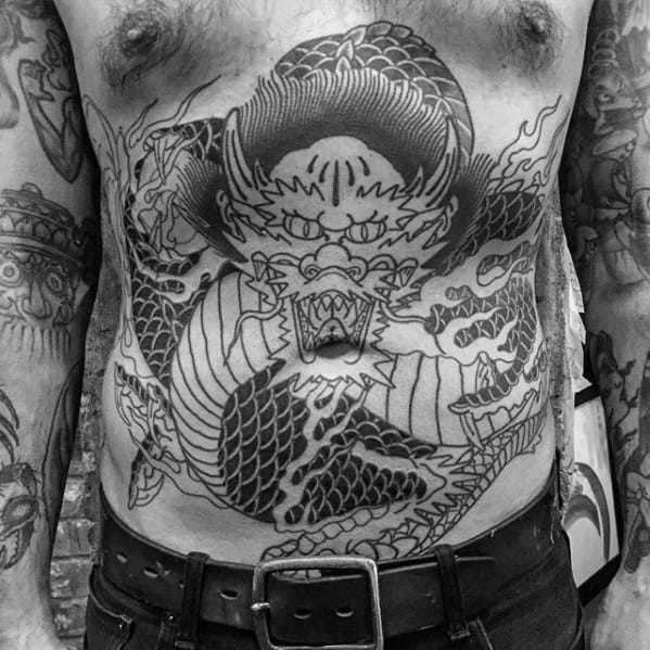Guys Lower Chest Dragon Old School Tattoo Ideas