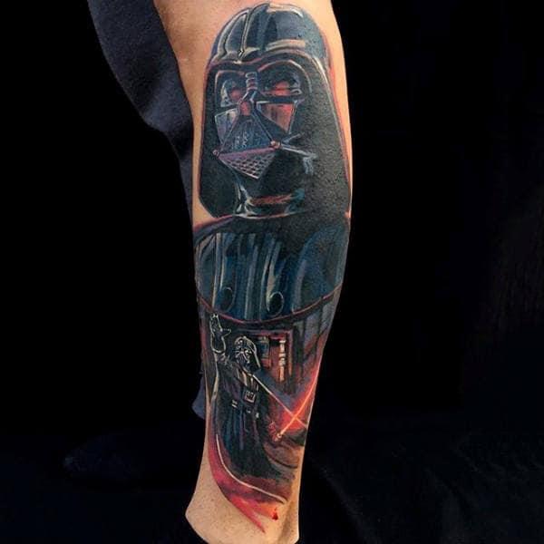 Guys Lower Leg Amazing Darth Vader Tattoo