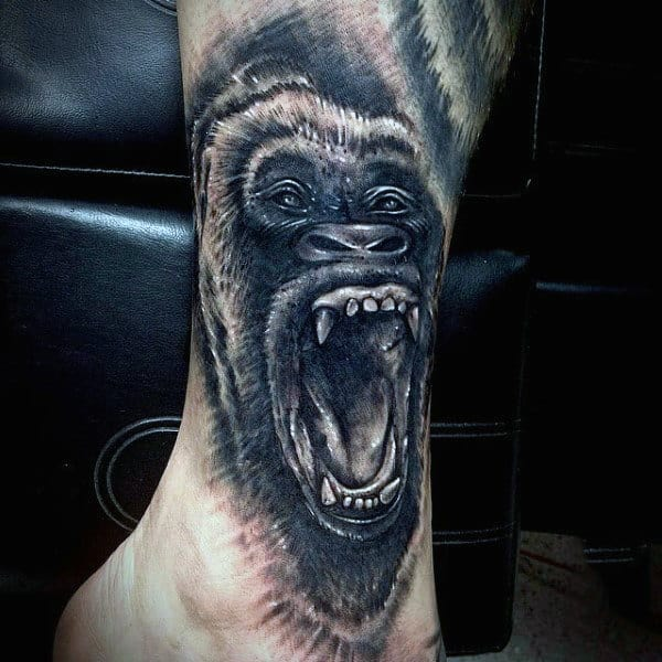 Guys Lower Leg Gorilla Tattoo Design Inspiration