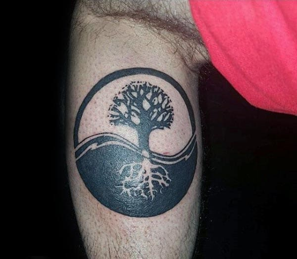 Guys Lower Leg Tree Of Life Yin Yang Tattoo Designs
