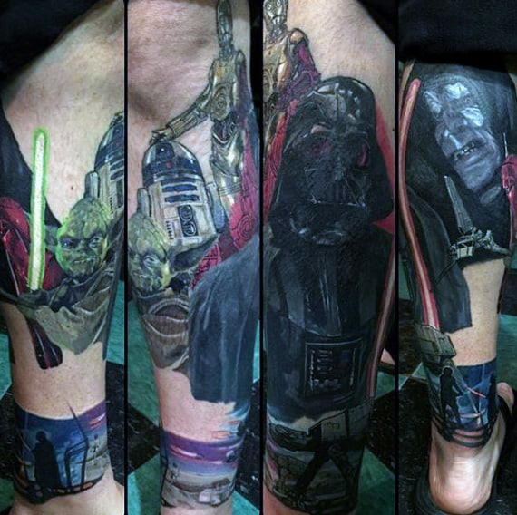 Guys Lower Legs Darth Vader Light Saber Tattoo