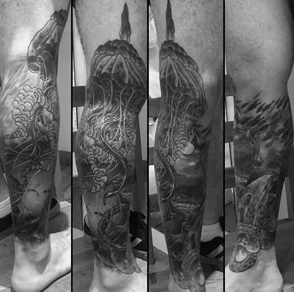 Guys Lower Legs Gray Jellyfish Tattoo