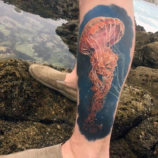 Guys Lower Legs Jellyfish Tattoo